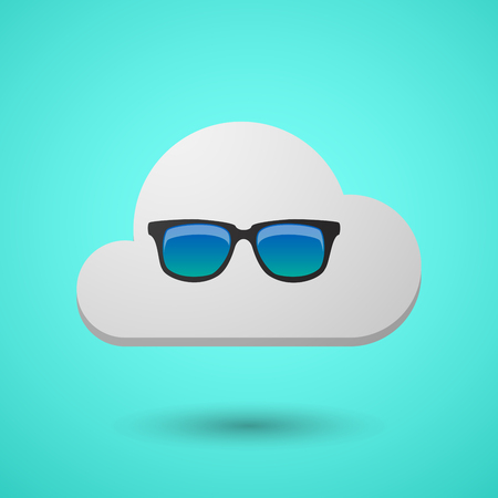 Illustration of a long shadow cloud with  a sunglasses icon