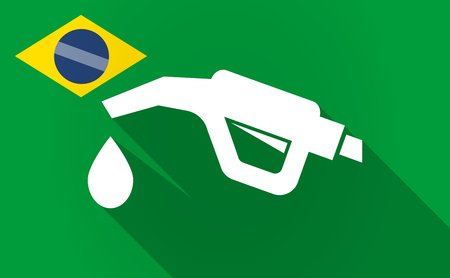petrol pump: Illustration of a long shadow Brazil map with  a gas hose icon
