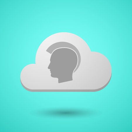 Illustration of a long shadow cloud with  a male punk head silhouette Illustration