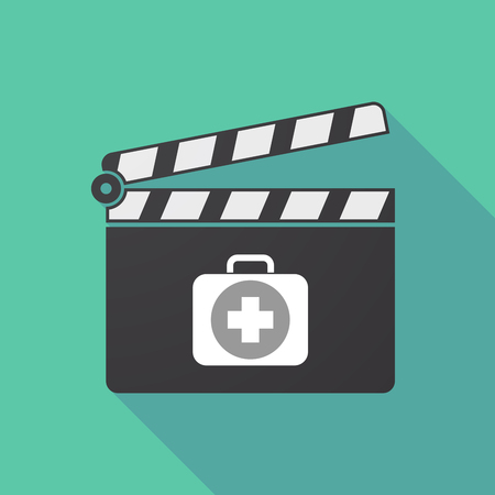 Illustration of a long shadow cinema clapper board with  a first aid kit icon