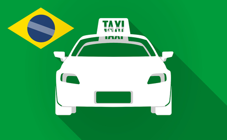 Illustration of a long shadow Brazil map with  a taxi icon