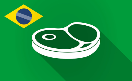Illustration of a long shadow Brazil map with  a steak icon