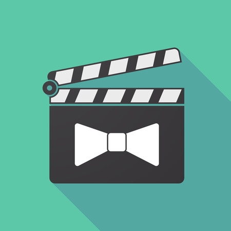 Illustration of a long shadow cinema clapper board with  a neck tie icon
