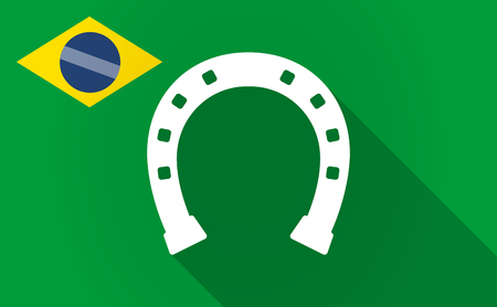 Illustration of a long shadow Brazil map with  a horseshoe sign