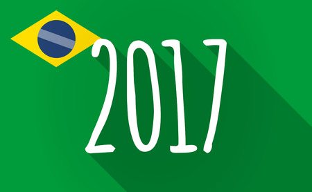 Illustration of a long shadow Brazil map with  a 2017 year  number icon Illustration