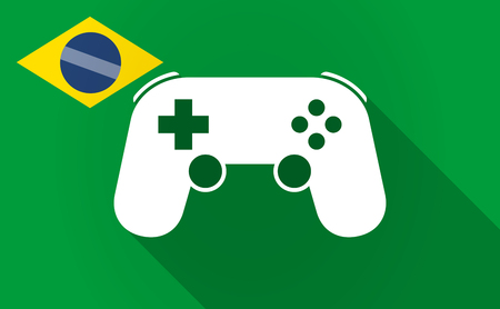 Illustration of a long shadow Brazil map with  a game pad
