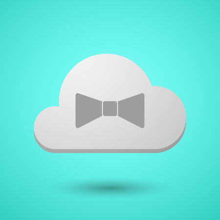 Illustration of a long shadow cloud with  a neck tie icon Illustration