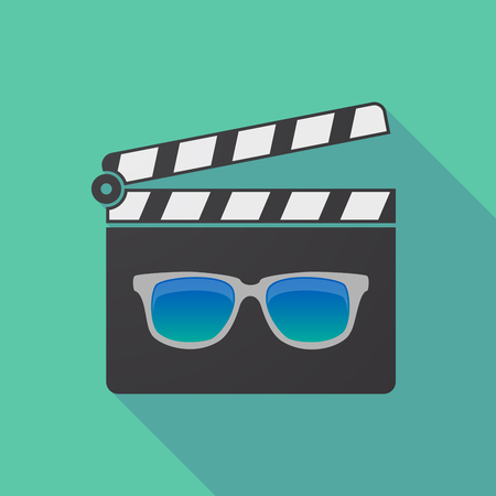 Illustration of a long shadow cinema clapper board with  a sunglasses icon