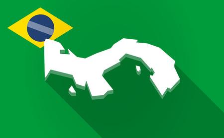Ilustración de una larga sombra Mapa de Brasil con el mapa de Panamá Vectores