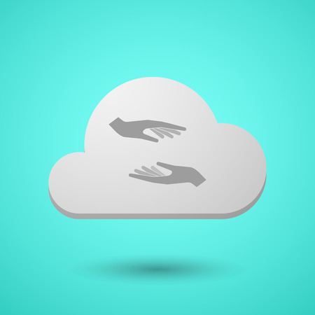 Illustration of a long shadow cloud with  two hands giving and receiving  or protecting