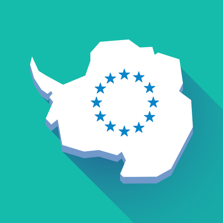 Illustration of a long shadow Antarctica map with   the EU flag stars