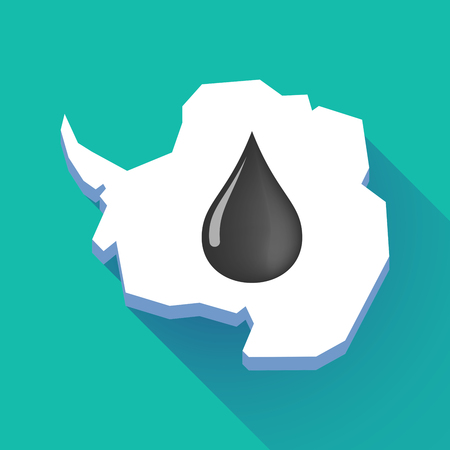 Illustration of a long shadow Antarctica map with   an oil drop icon