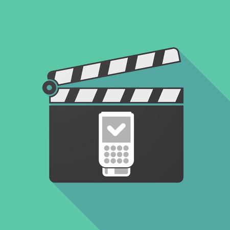 Dataphone アイコンと長い影映画クラッパー ボードのイラスト