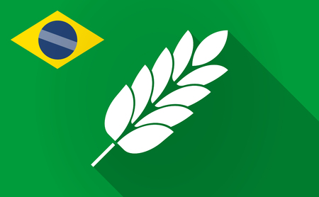 Illustration of a long shadow Brazil map with  a wheat plant icon