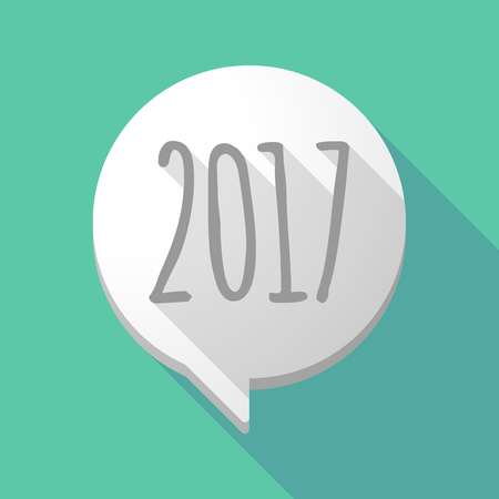 Illustration of a long shadow comic balloon with  a 2017 year  number icon