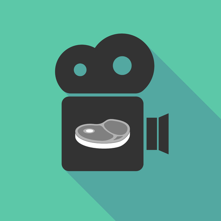 Illustration of a long shadow cinema camera with  a steak icon Ilustrace