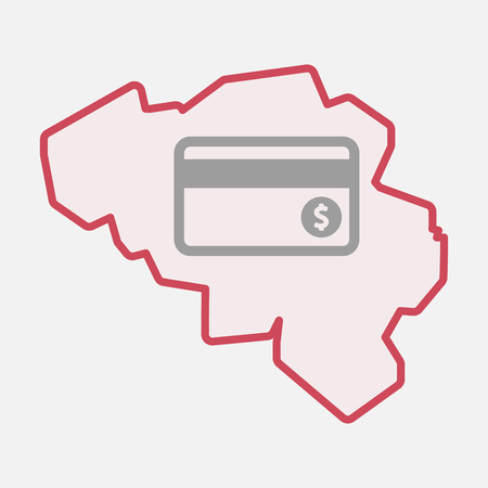 Illustration of an isolated line art  Belgium map with  a credit card Illustration