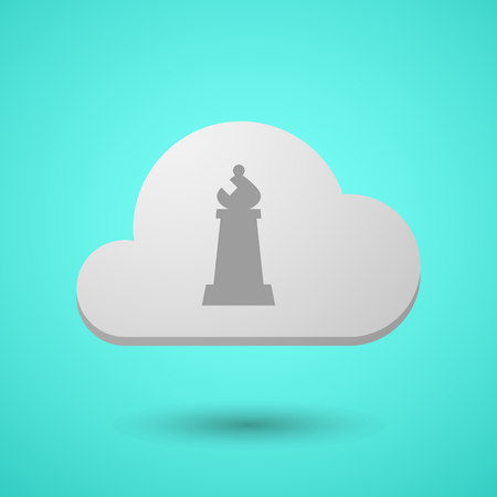 Illustration of a long shadow cloud with a bishop    chess figure