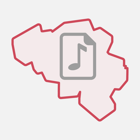 musical score: Illustration of an isolated line art  Belgium map with  a music score icon Illustration