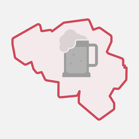 jarra de cerveza: Illustration of an isolated line art  Belgium map with  a beer jar icon