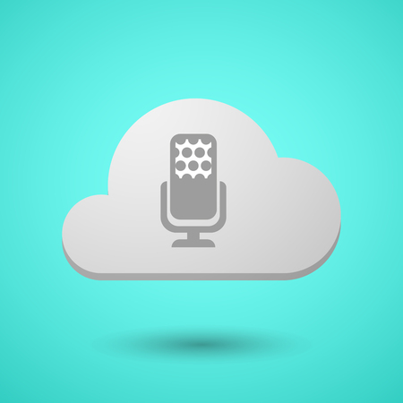 Illustration of a long shadow cloud with  a microphone sign Illustration
