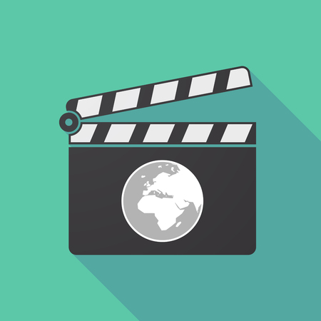 Illustration of a long shadow cinema clapper board with   an Asia, Africa and Europe regions world globe