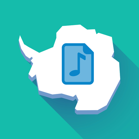 Illustration of a long shadow Antarctica map with   a music score icon Illustration