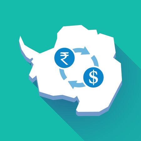Illustration of a long shadow Antarctica map with   a rupee and dollar exchange sign