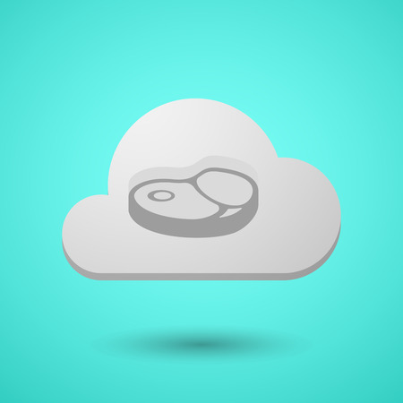 Illustration of a long shadow cloud with  a steak icon