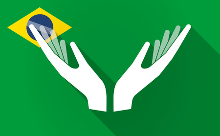 Illustration of a long shadow Brazil map with  two hands offering
