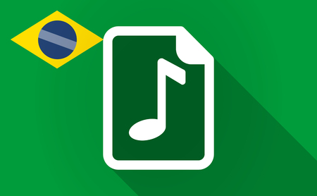 Illustration of a long shadow Brazil map with  a music score icon