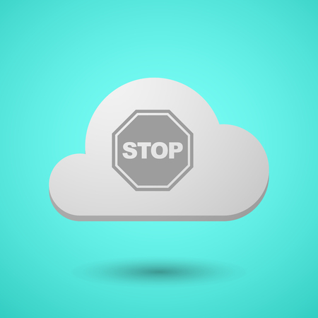 Illustration of a long shadow cloud with  a stop signal