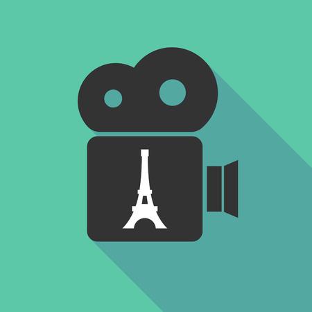 エッフェル塔と長い影映画カメラのイラスト