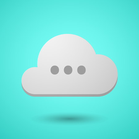 Illustration of a long shadow cloud with  an ellipsis orthographic sign Illustration