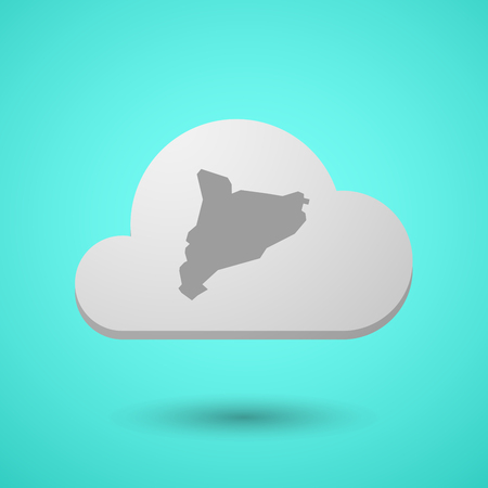 catalonia: Illustration of a long shadow cloud with  the map of Catalonia