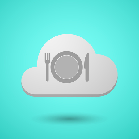 Illustration of a long shadow cloud with  a dish, knife and a fork icon