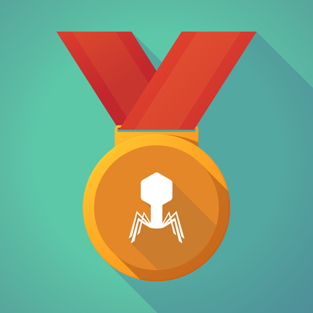 Illustration of a long shadow gold award medal with a virus