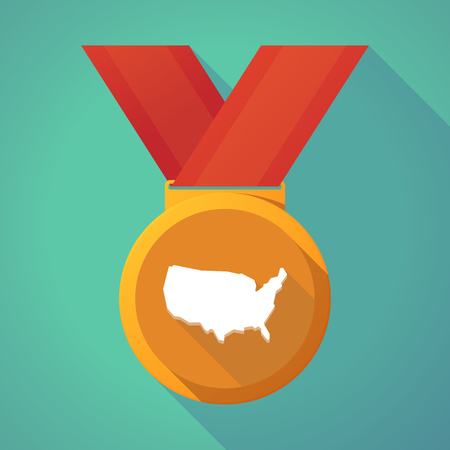 first nations: Illustration of a long shadow gold award medal with  a map of the USA