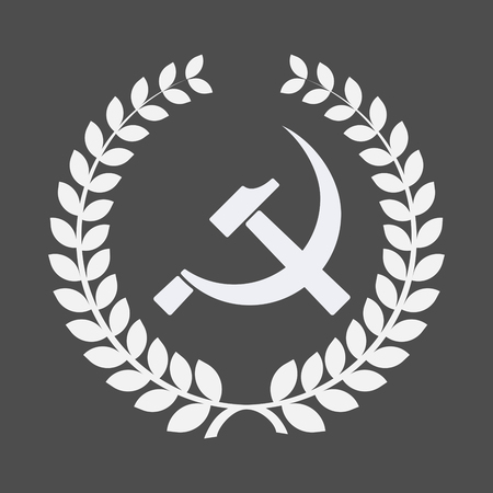 Illustration of an isolated laurel wreath with  the communist symbol Illustration