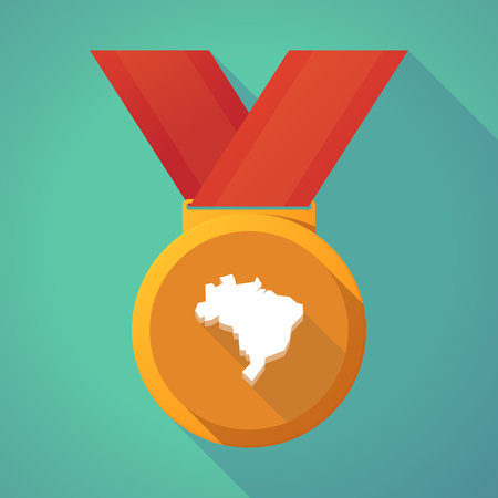 first nations: Illustration of a long shadow gold award medal with  a map of Brazil Illustration