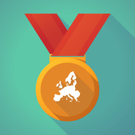 Illustration of a long shadow gold award medal with  a map of Europe Illustration