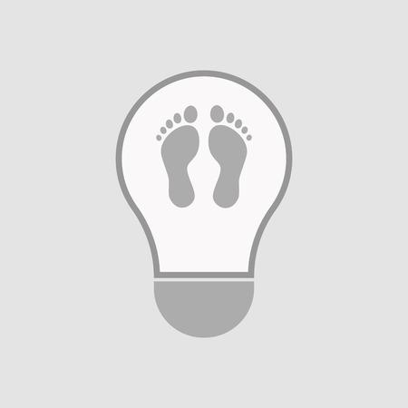 Ilustração de uma lâmpada isolada com duas pegadas Foto de archivo - 79766960