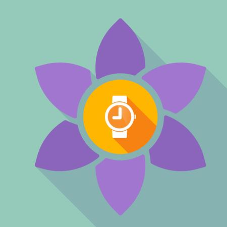 Ilustración de una flor de loto de sombra de largo con un reloj de pulsera Foto de archivo - 79766990