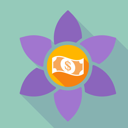 Illustration of a long shadow loto flower with a dollar bank note