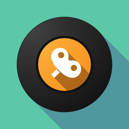 Illustration of a long shadow vinyl long play disc with a toy crank Çizim