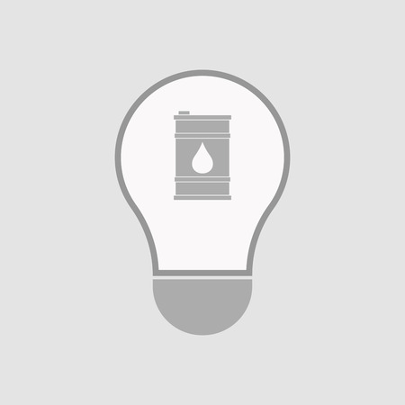 oil lamp: Illustration of an isolated light bulb with a barrel of oil