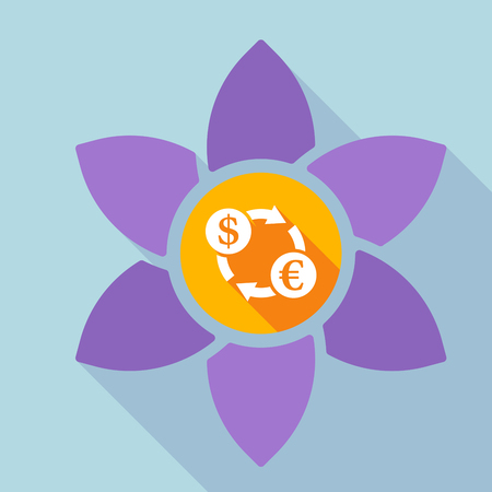 Illustration of a long shadow loto flower with a dollar euro exchange sign