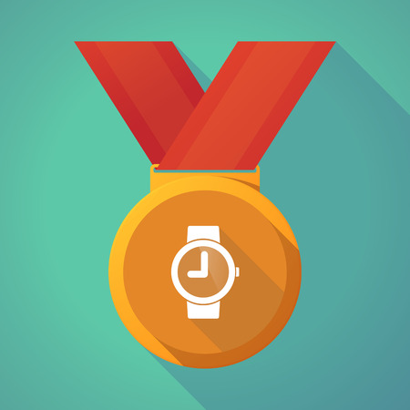 puntualidad: Illustration of a long shadow gold award medal with a wrist watch Vectores