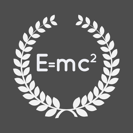 Illustration of an isolated laurel wreath with the Theory of Relativity formula Illustration