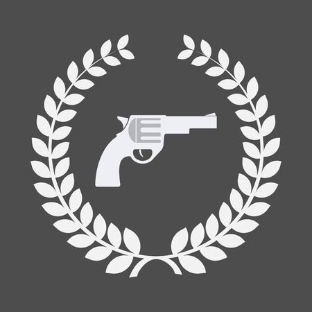 Illustration of an isolated laurel wreath with a gun Illustration